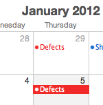 Calendar showing Defect task for Thursdays