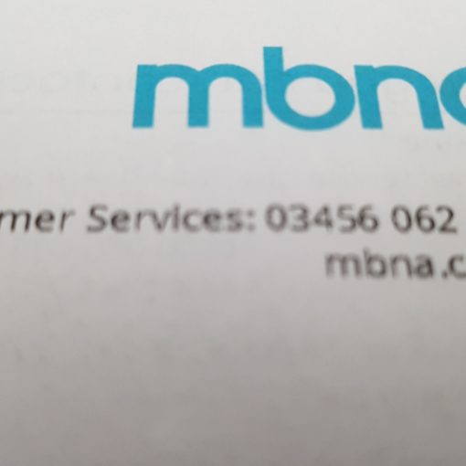 Image showing MBNA logo with customer services number.